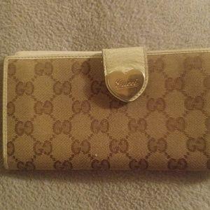 aab5fb20aea6 Brown tan Gucci Wallet long monogram logo heart for sale